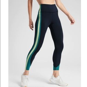 Athleta Color Crunch blue green 7/8 leggings